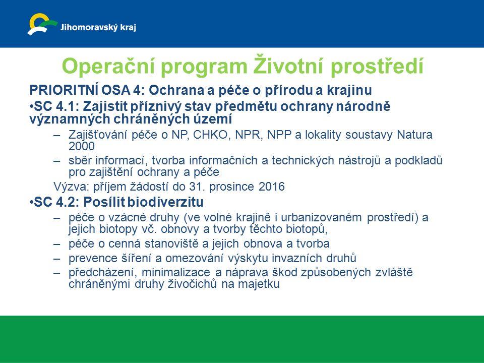 Operační program Životní prostředí PRIORITNÍ OSA 4: Ochrana a péče o přírodu a krajinu SC 4.1: Zajistit příznivý stav předmětu ochrany národně významných chráněných území –Zajišťování péče o NP, CHKO, NPR, NPP a lokality soustavy Natura 2000 –sběr informací, tvorba informačních a technických nástrojů a podkladů pro zajištění ochrany a péče Výzva: příjem žádostí do 31.