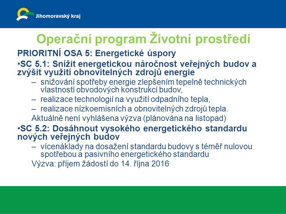 Operační program Životní prostředí PRIORITNÍ OSA 5: Energetické úspory SC 5.1: Snížit energetickou náročnost veřejných budov a zvýšit využití obnovitelných zdrojů energie –snižování spotřeby energie zlepšením tepelně technických vlastností obvodových konstrukcí budov, –realizace technologií na využití odpadního tepla, –realizace nízkoemisních a obnovitelných zdrojů tepla.