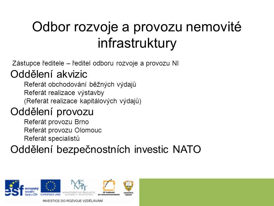 Odbor rozvoje a provozu nemovité infrastruktury Zástupce ředitele – ředitel odboru rozvoje a provozu NI Oddělení akvizic Referát obchodování běžných výdajů Referát realizace výstavby (Referát realizace kapitálových výdajů) Oddělení provozu Referát provozu Brno Referát provozu Olomouc Referát specialistů Oddělení bezpečnostních investic NATO