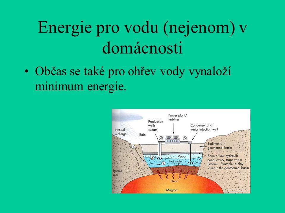 Energie pro vodu (nejenom) v domácnosti Občas se také pro ohřev vody vynaloží minimum energie.