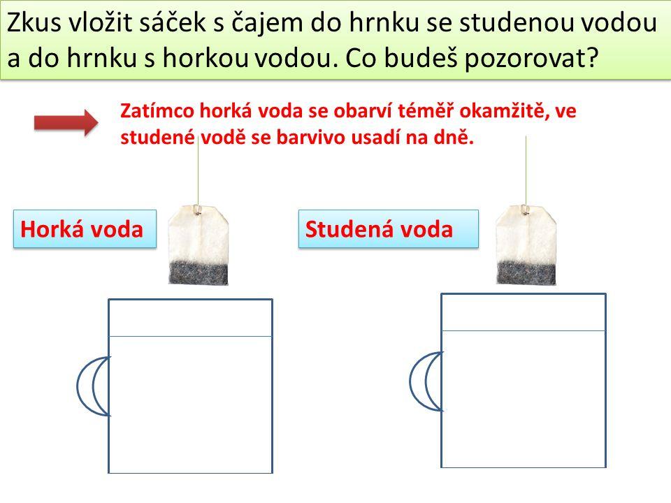 Vysvětlení: V horké vodě se molekuly pohybují rychleji...než ve studené vodě Rychleji se pohybující molekuly mají větší pohybovou energii.