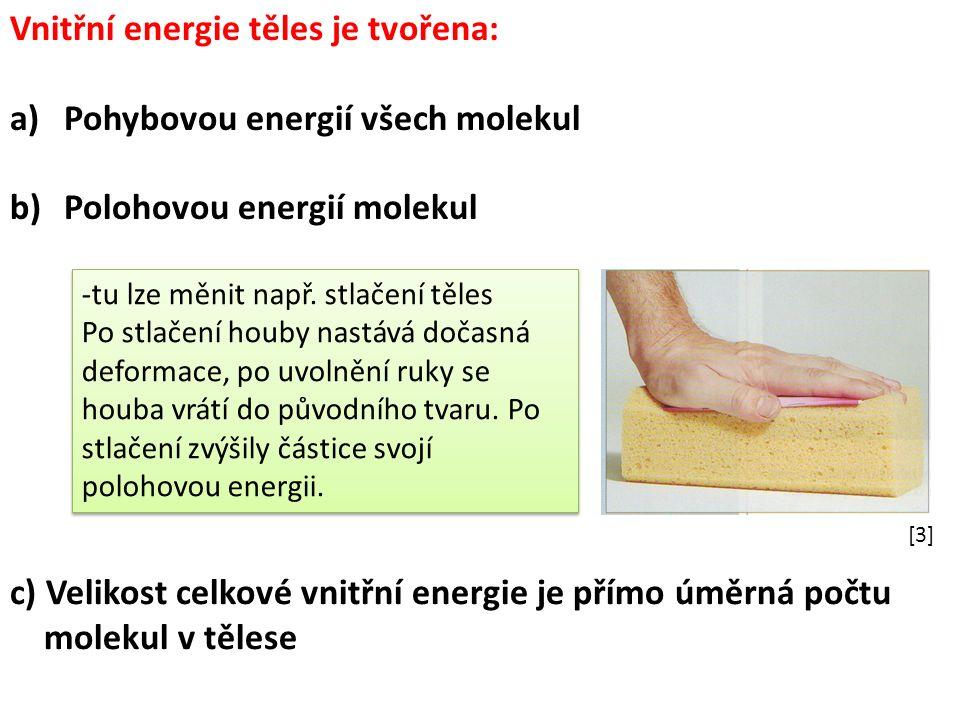 Vnitřní energie těles je tvořena: a)Pohybovou energií všech molekul b)Polohovou energií molekul -tu lze měnit např. stlačení těles Po stlačení houby n