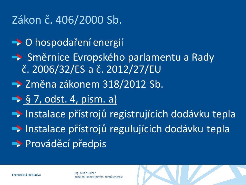 Ing.Milan Balcer oddělení obnovitelných zdrojů energie Energetická legislativa Zákon č.
