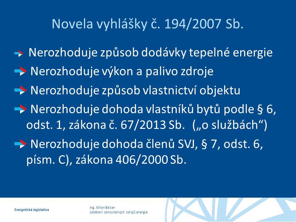 Ing.Milan Balcer oddělení obnovitelných zdrojů energie Energetická legislativa Novela vyhlášky č.