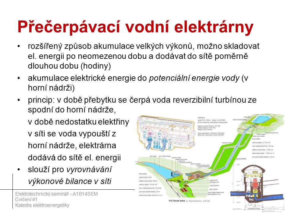 Přečerpávací vodní elektrárny rozšířený způsob akumulace velkých výkonů, možno skladovat el.