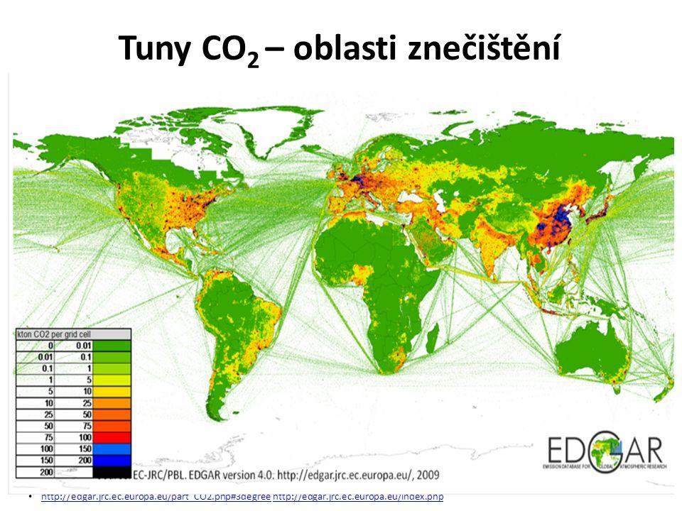 Tuny CO 2 – oblasti znečištění http://edgar.jrc.ec.europa.eu/part_CO2.php#3degree http://edgar.jrc.ec.europa.eu/index.php http://edgar.jrc.ec.europa.e