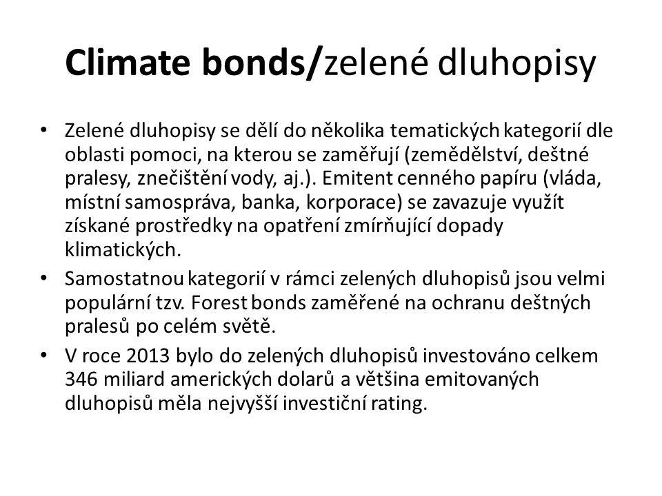 Climate bonds/zelené dluhopisy Zelené dluhopisy se dělí do několika tematických kategorií dle oblasti pomoci, na kterou se zaměřují (zemědělství, deštné pralesy, znečištění vody, aj.).