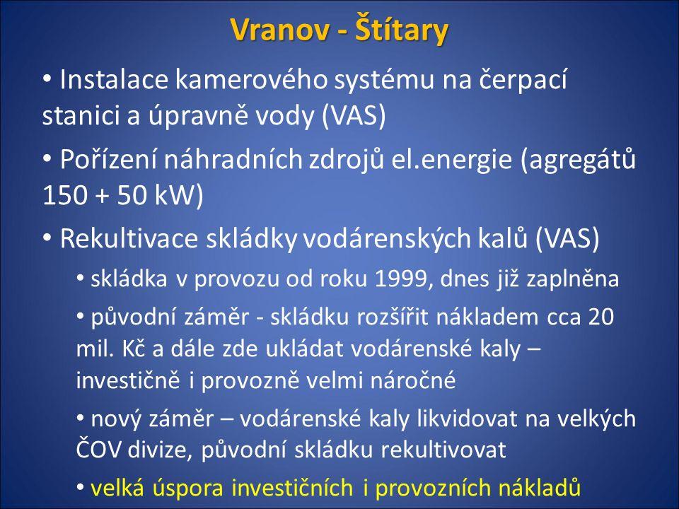 Vranov - Štítary Instalace kamerového systému na čerpací stanici a úpravně vody (VAS) Pořízení náhradních zdrojů el.energie (agregátů 150 + 50 kW) Rekultivace skládky vodárenských kalů (VAS) skládka v provozu od roku 1999, dnes již zaplněna původní záměr - skládku rozšířit nákladem cca 20 mil.