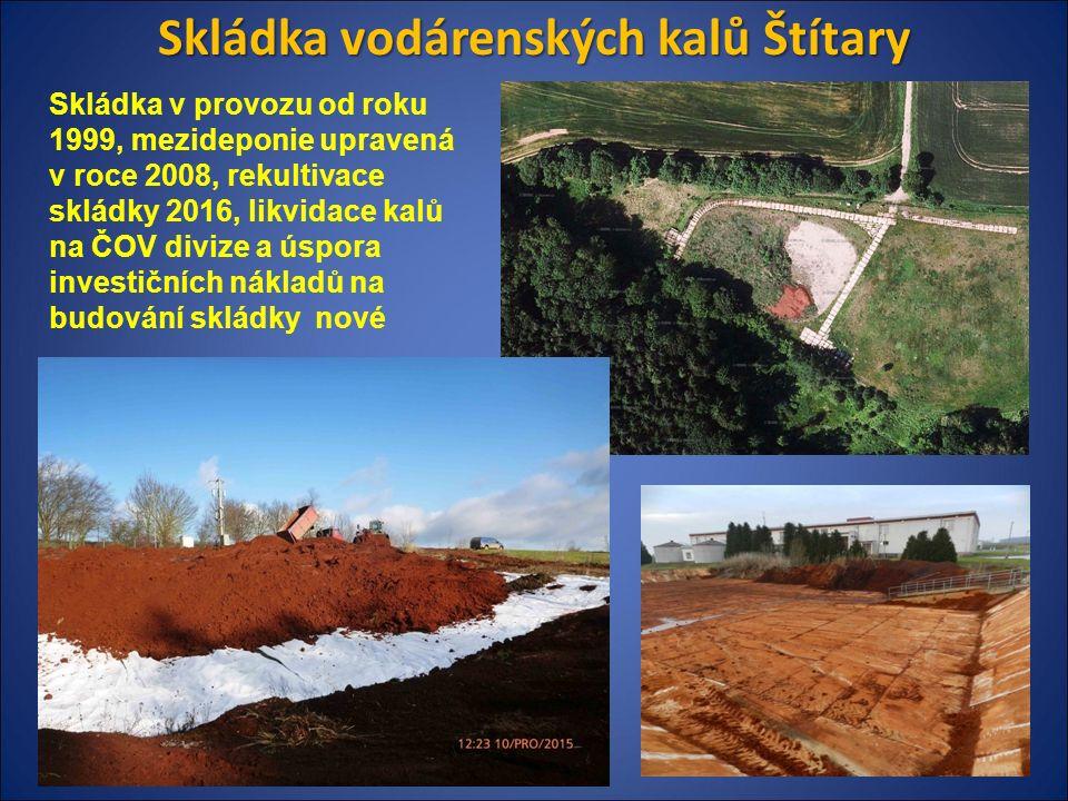 Skládka vodárenských kalů Štítary Skládka v provozu od roku 1999, mezideponie upravená v roce 2008, rekultivace skládky 2016, likvidace kalů na ČOV divize a úspora investičních nákladů na budování skládky nové