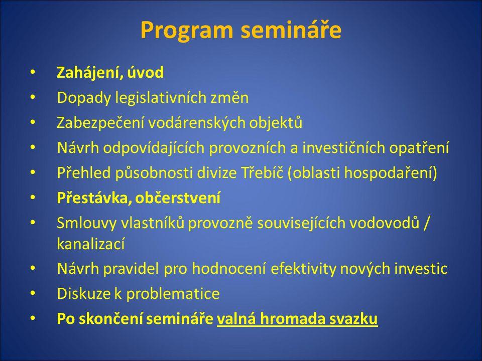 Program semináře Zahájení, úvod Dopady legislativních změn Zabezpečení vodárenských objektů Návrh odpovídajících provozních a investičních opatření Př