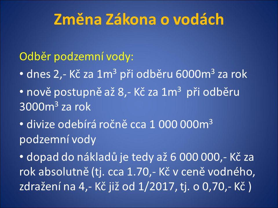 Změna Zákona o vodách Vypouštění odpadních vod: - Změna platby za vypouštěný objem - Dnes: od 100 tis.