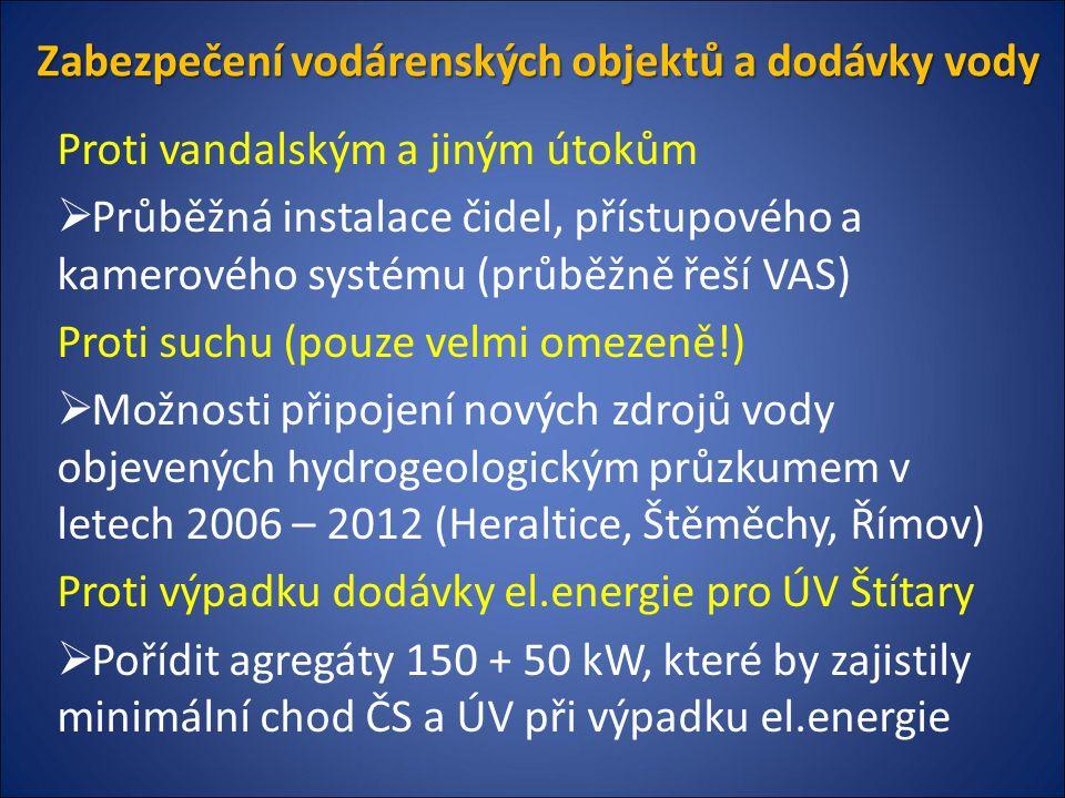 Zabezpečení vodárenských objektů a dodávky vody Proti vandalským a jiným útokům  Průběžná instalace čidel, přístupového a kamerového systému (průběžně řeší VAS) Proti suchu (pouze velmi omezeně!)  Možnosti připojení nových zdrojů vody objevených hydrogeologickým průzkumem v letech 2006 – 2012 (Heraltice, Štěměchy, Římov) Proti výpadku dodávky el.energie pro ÚV Štítary  Pořídit agregáty 150 + 50 kW, které by zajistily minimální chod ČS a ÚV při výpadku el.energie