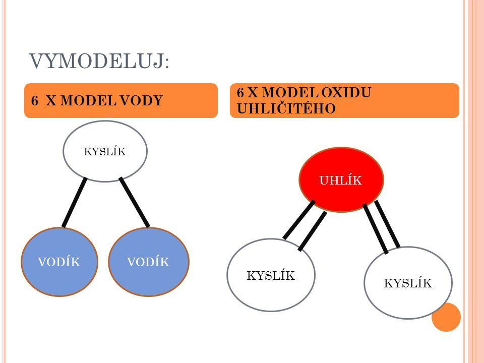 VYMODELUJ: 6 X MODEL VODY 6 X MODEL OXIDU UHLIČITÉHO VODÍK KYSLÍK UHLÍK KYSLÍK