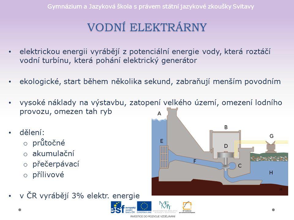 Gymnázium a Jazyková škola s právem státní jazykové zkoušky Svitavy elektrickou energii vyrábějí z potenciální energie vody, která roztáčí vodní turbí