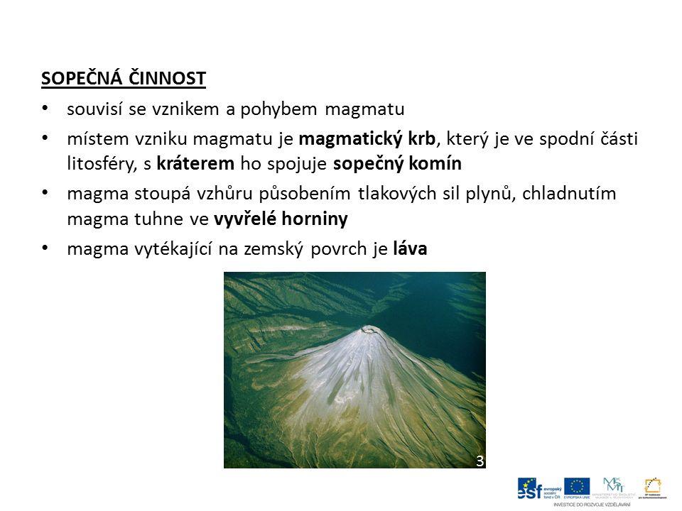 SOPEČNÁ ČINNOST souvisí se vznikem a pohybem magmatu místem vzniku magmatu je magmatický krb, který je ve spodní části litosféry, s kráterem ho spojuj