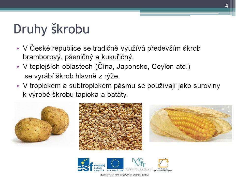 Druhy škrobu V České republice se tradičně využívá především škrob bramborový, pšeničný a kukuřičný.