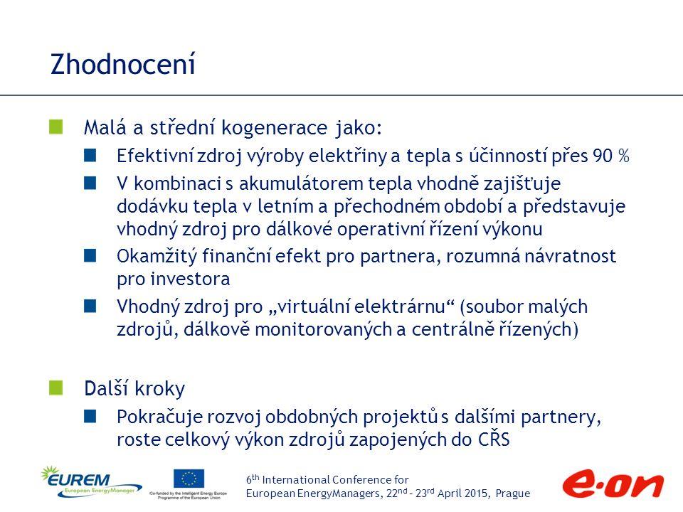 """6 th International Conference for European EnergyManagers, 22 nd – 23 rd April 2015, Prague Zhodnocení Malá a střední kogenerace jako: Efektivní zdroj výroby elektřiny a tepla s účinností přes 90 % V kombinaci s akumulátorem tepla vhodně zajišťuje dodávku tepla v letním a přechodném období a představuje vhodný zdroj pro dálkové operativní řízení výkonu Okamžitý finanční efekt pro partnera, rozumná návratnost pro investora Vhodný zdroj pro """"virtuální elektrárnu (soubor malých zdrojů, dálkově monitorovaných a centrálně řízených) Další kroky Pokračuje rozvoj obdobných projektů s dalšími partnery, roste celkový výkon zdrojů zapojených do CŘS"""