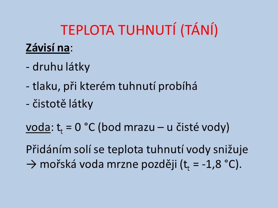 TEPLOTA TUHNUTÍ (TÁNÍ) Závisí na: - druhu látky - tlaku, při kterém tuhnutí probíhá - čistotě látky voda: t t = 0 °C (bod mrazu – u čisté vody) Přidáním solí se teplota tuhnutí vody snižuje → mořská voda mrzne později (t t = -1,8 °C).