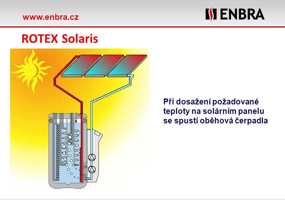 www.enbra.cz ROTEX Solaris Při dosažení požadované teploty na solárním panelu se spustí oběhová čerpadla