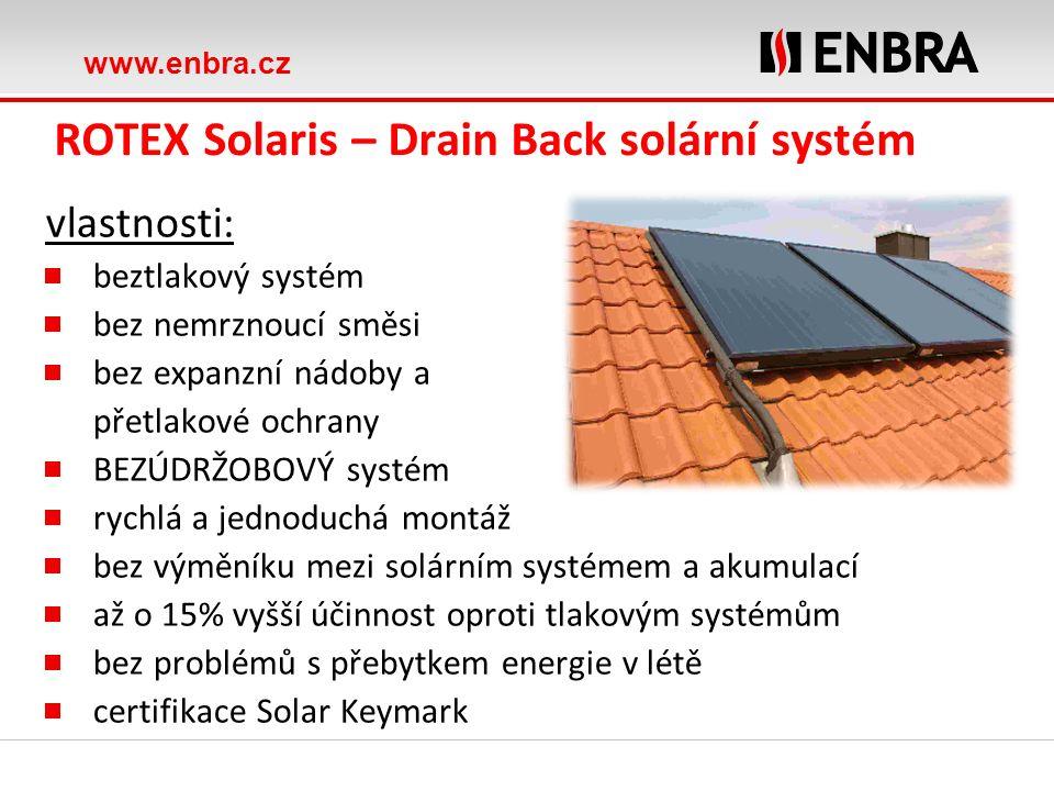 www.enbra.cz ROTEX Solaris – Drain Back solární systém vlastnosti: beztlakový systém bez nemrznoucí směsi bez expanzní nádoby a přetlakové ochrany BEZ