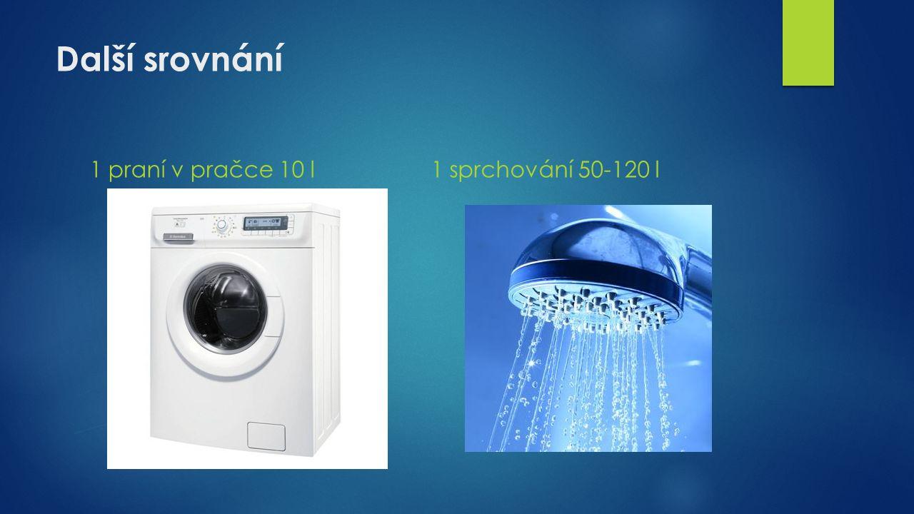 Další srovnání 1 praní v pračce 10 l1 sprchování 50-120 l