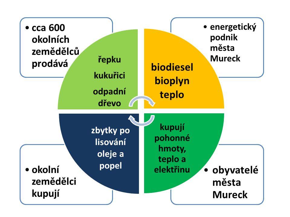 obyvatelé města Mureck okolní zemědělci kupují energetický podnik města Mureck cca 600 okolních zemědělců prodává řepku kukuřici odpadní dřevo biodiesel bioplyn teplo kupují pohonné hmoty, teplo a elektřinu zbytky po lisování oleje a popel