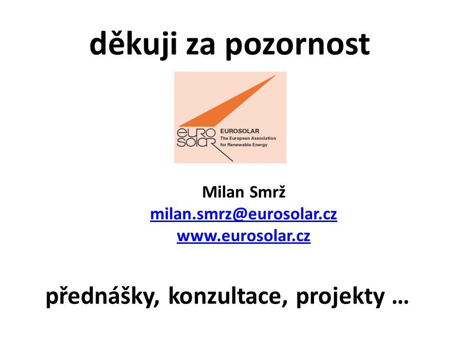 děkuji za pozornost Milan Smrž milan.smrz@eurosolar.cz www.eurosolar.cz přednášky, konzultace, projekty …