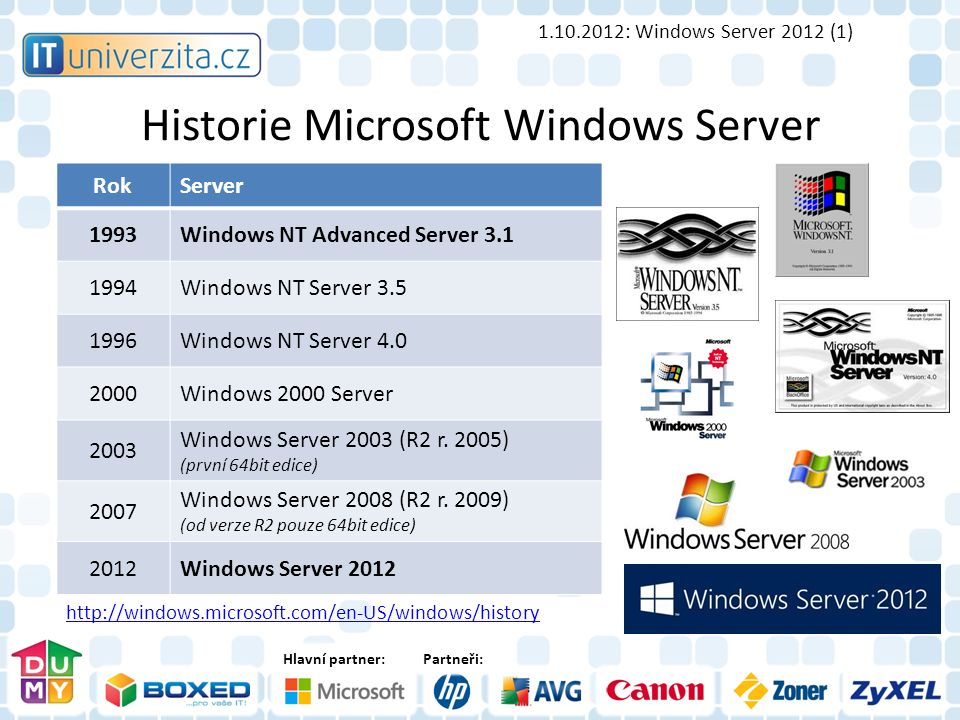 Hlavní partner:Partneři: Historie Microsoft Windows Server RokServer 1993Windows NT Advanced Server 3.1 1994Windows NT Server 3.5 1996Windows NT Server 4.0 2000Windows 2000 Server 2003 Windows Server 2003 (R2 r.