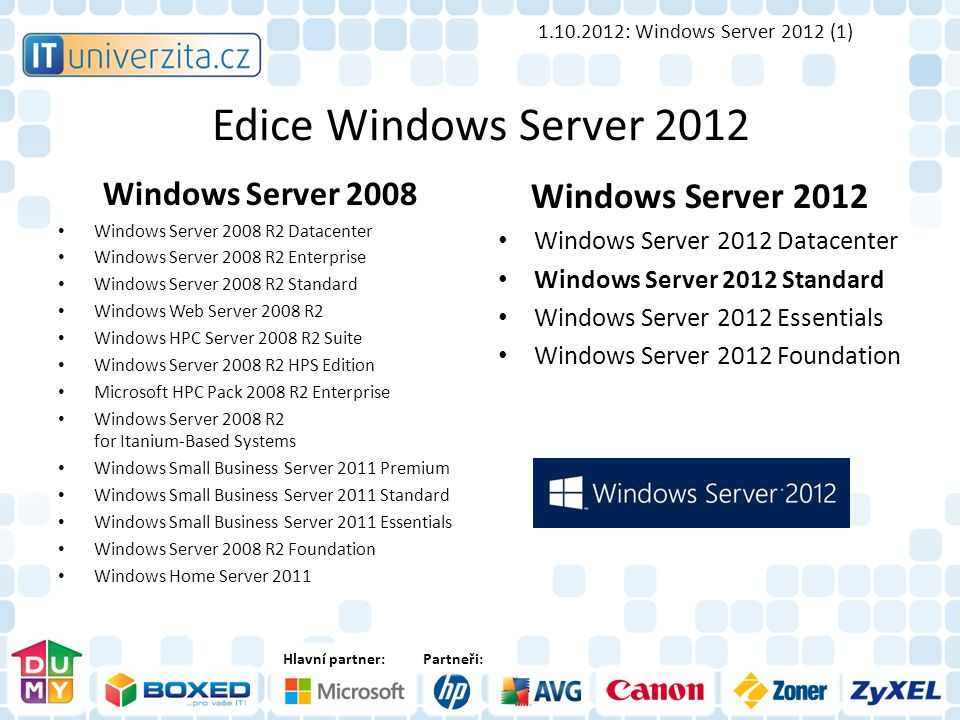 Hlavní partner:Partneři: Edice Windows Server 2012 Windows Server 2008 Windows Server 2008 R2 Datacenter Windows Server 2008 R2 Enterprise Windows Ser