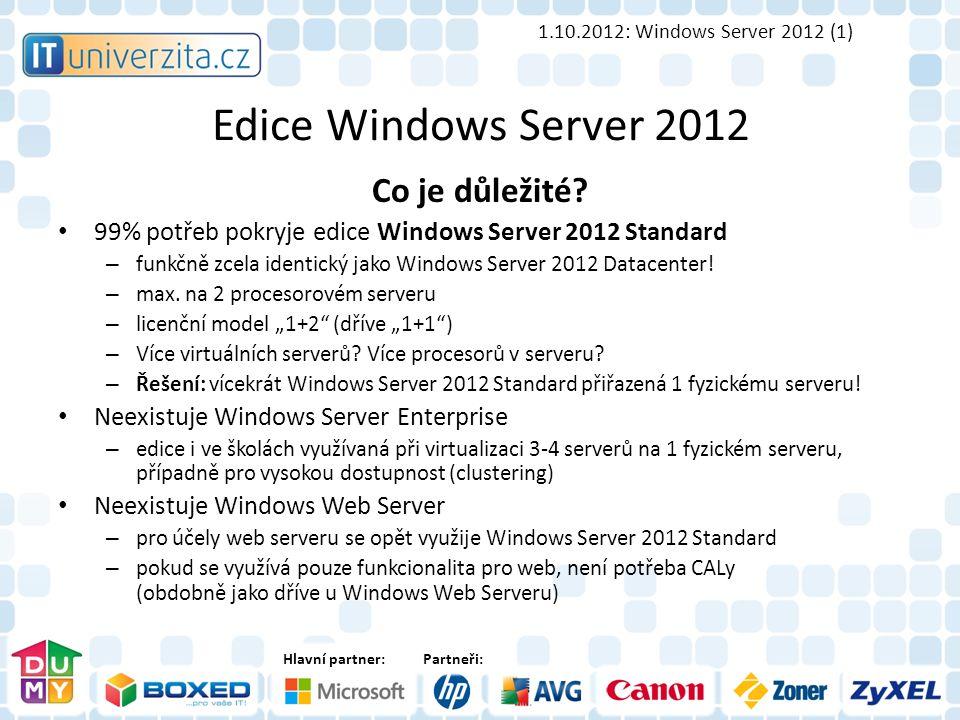 Hlavní partner:Partneři: Edice Windows Server 2012 Co je důležité.