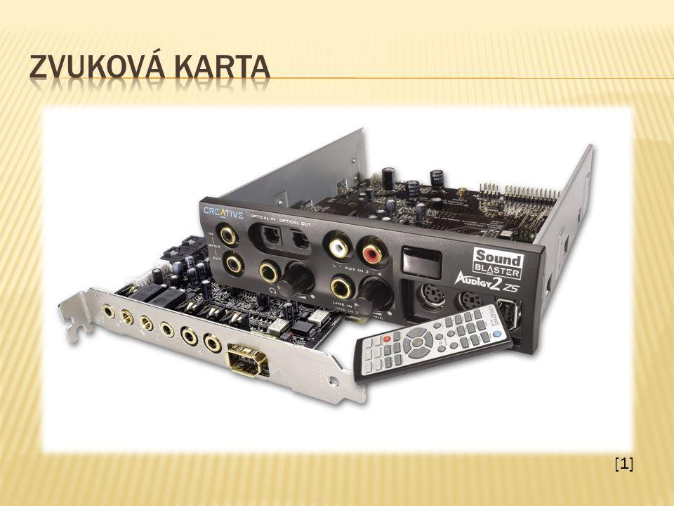 Zvuková karta zajišťuje zejména zvukový výstup z počítače na reproduktory či jiný typ výstupního audio zařízení (sluchátka apod.)  Doplňkovou funkcí je však i vstup zvuku.