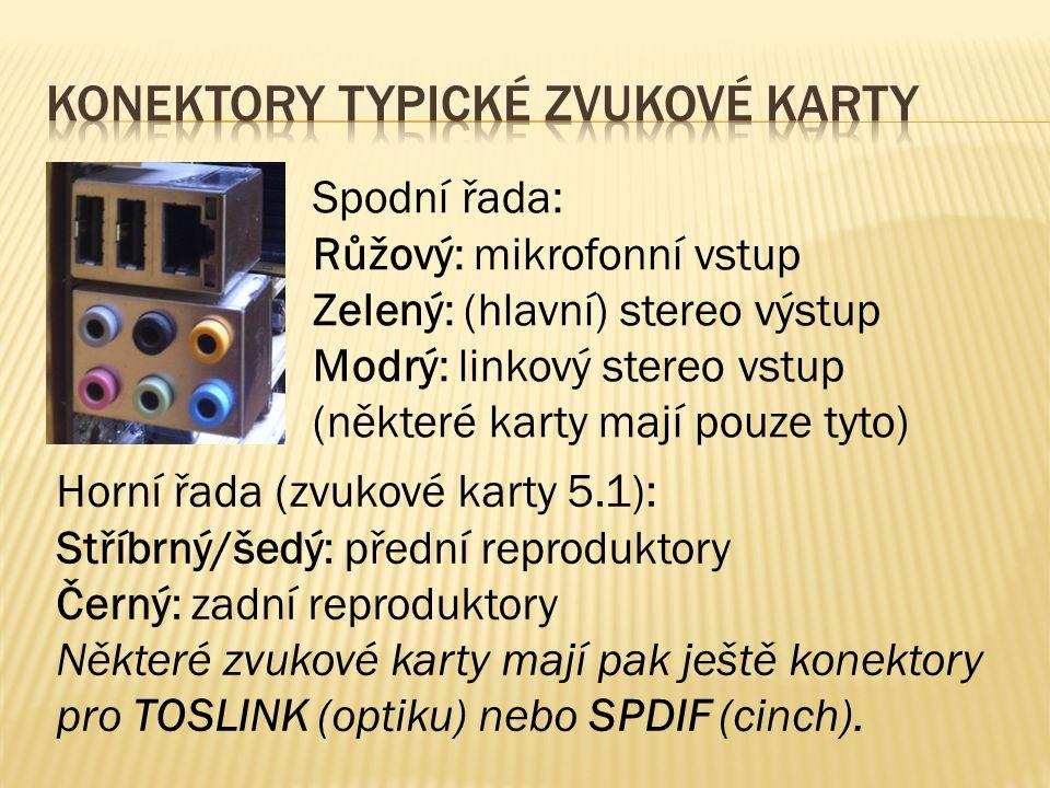 Spodní řada: Růžový: mikrofonní vstup Zelený: (hlavní) stereo výstup Modrý: linkový stereo vstup (některé karty mají pouze tyto) Horní řada (zvukové karty 5.1): Stříbrný/šedý: přední reproduktory Černý: zadní reproduktory Některé zvukové karty mají pak ještě konektory pro TOSLINK (optiku) nebo SPDIF (cinch).