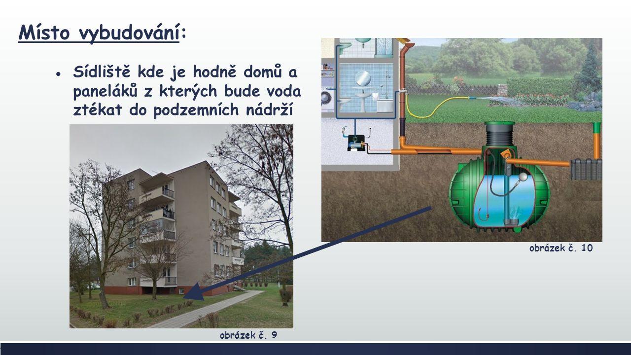 Místo vybudování: ●Sídliště kde je hodně domů a paneláků z kterých bude voda ztékat do podzemních nádrží obrázek č.