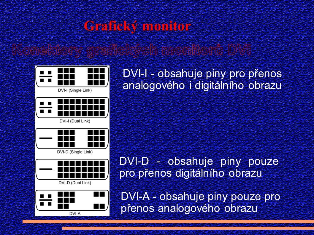 DVI-A - obsahuje piny pouze pro přenos analogového obrazu DVI-I - obsahuje piny pro přenos analogového i digitálního obrazu DVI-D - obsahuje piny pouze pro přenos digitálního obrazu