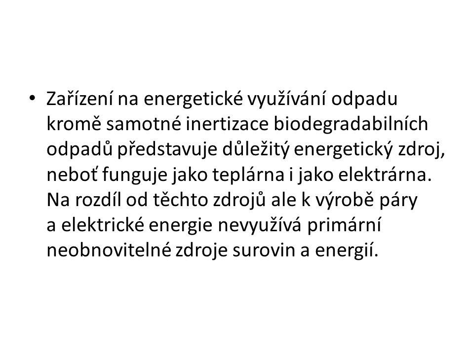 Zařízení na energetické využívání odpadu kromě samotné inertizace biodegradabilních odpadů představuje důležitý energetický zdroj, neboť funguje jako