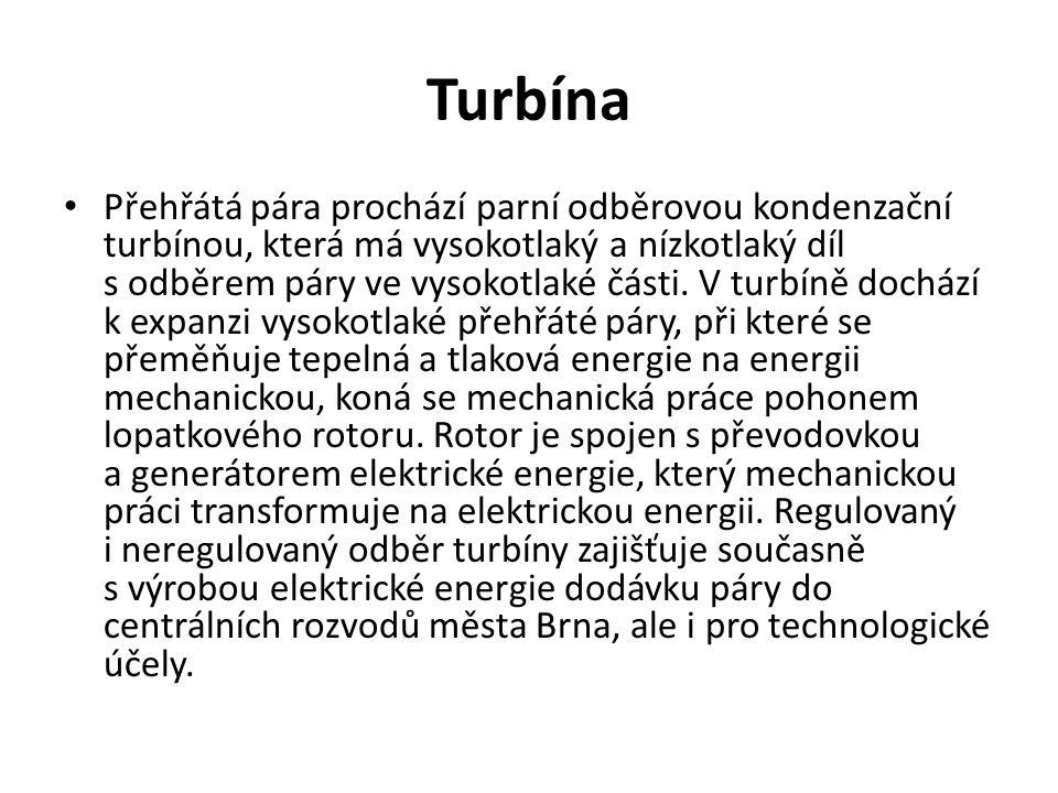Turbína Přehřátá pára prochází parní odběrovou kondenzační turbínou, která má vysokotlaký a nízkotlaký díl s odběrem páry ve vysokotlaké části.