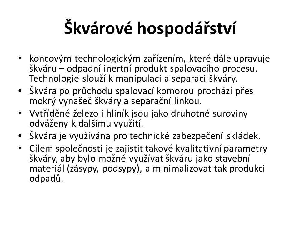 Škvárové hospodářství koncovým technologickým zařízením, které dále upravuje škváru – odpadní inertní produkt spalovacího procesu.