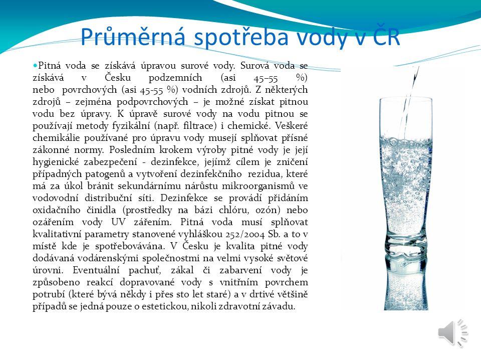 Průměrná spotřeba vody v ČR Pitná voda se získává úpravou surové vody. Surová voda se získává v Česku podzemních (asi 45–55 %) nebo povrchových (asi 4