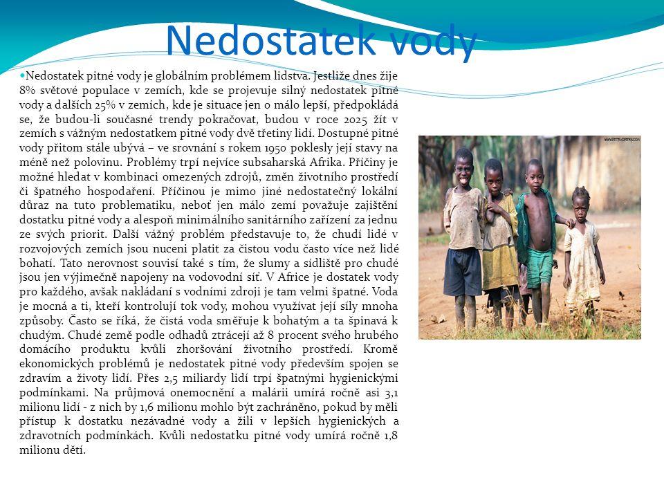 Nedostatek vody Nedostatek pitné vody je globálním problémem lidstva. Jestliže dnes žije 8% světové populace v zemích, kde se projevuje silný nedostat