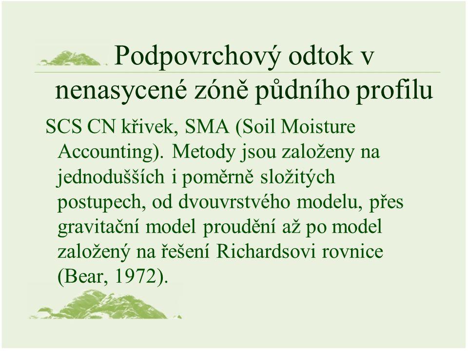 SCS CN křivek, SMA (Soil Moisture Accounting). Metody jsou založeny na jednodušších i poměrně složitých postupech, od dvouvrstvého modelu, přes gravit