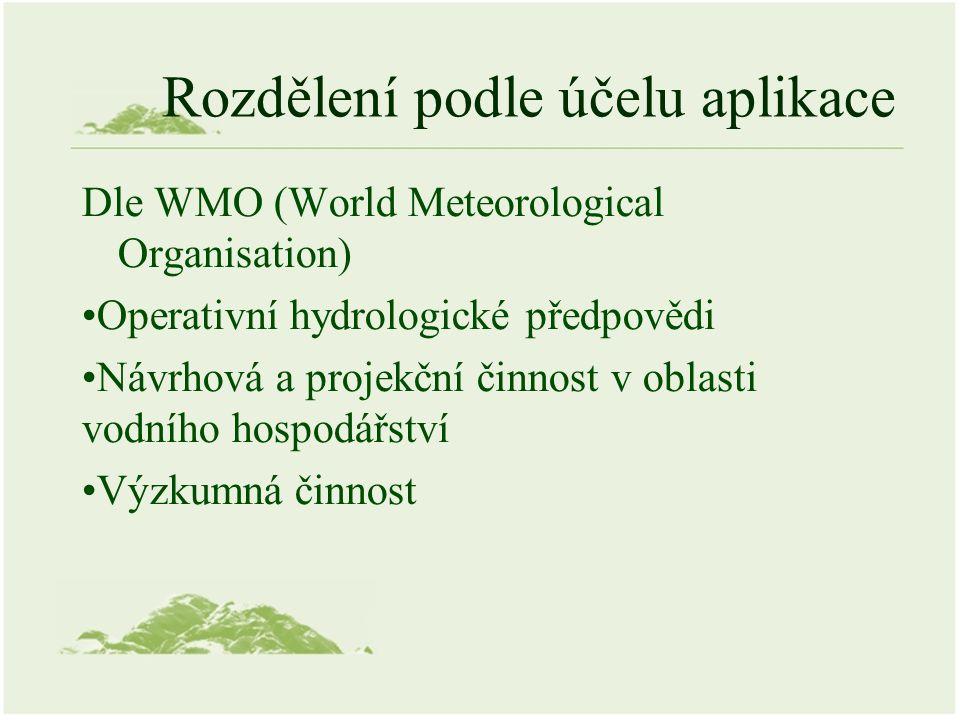 Rozdělení podle účelu aplikace Dle WMO (World Meteorological Organisation) Operativní hydrologické předpovědi Návrhová a projekční činnost v oblasti v