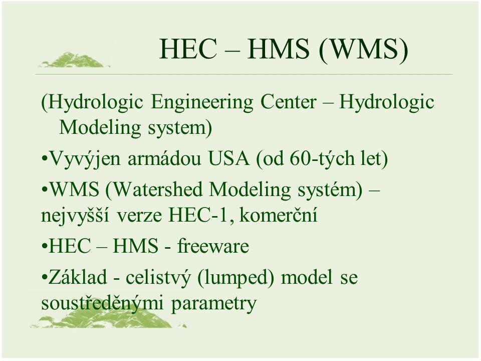 HEC – HMS (WMS) (Hydrologic Engineering Center – Hydrologic Modeling system) Vyvýjen armádou USA (od 60-tých let) WMS (Watershed Modeling systém) – ne