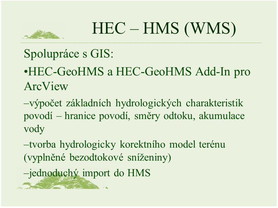 HEC – HMS (WMS) Spolupráce s GIS: HEC-GeoHMS a HEC-GeoHMS Add-In pro ArcView –výpočet základních hydrologických charakteristik povodí – hranice povodí