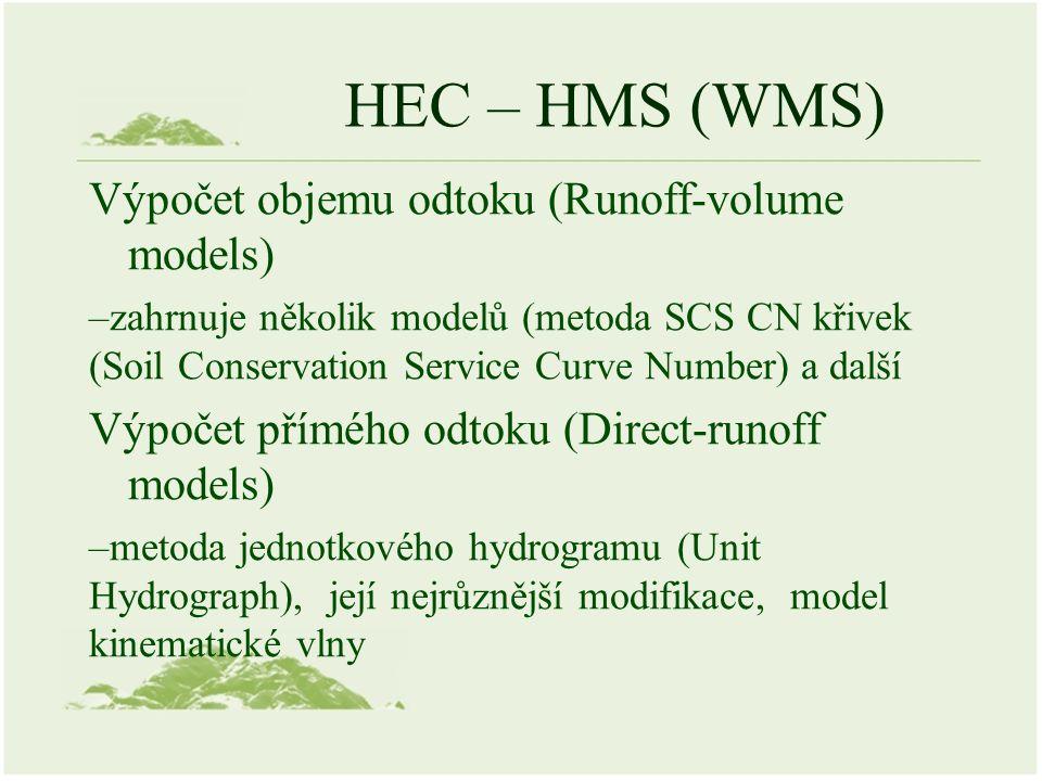HEC – HMS (WMS) Výpočet objemu odtoku (Runoff-volume models) –zahrnuje několik modelů (metoda SCS CN křivek (Soil Conservation Service Curve Number) a