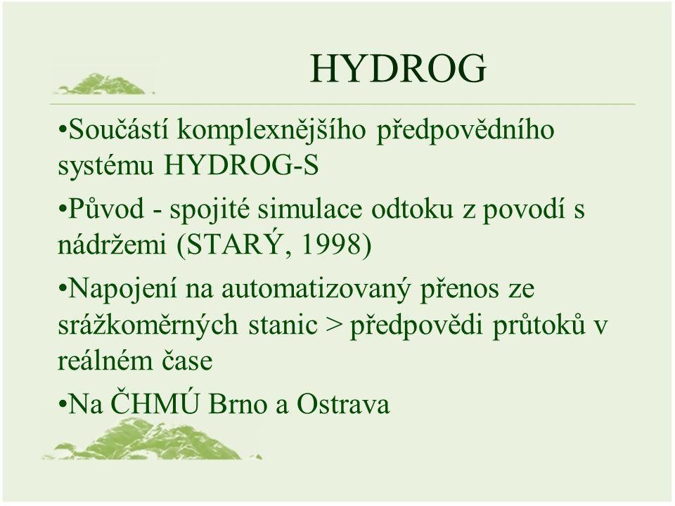 HYDROG Součástí komplexnějšího předpovědního systému HYDROG-S Původ - spojité simulace odtoku z povodí s nádržemi (STARÝ, 1998) Napojení na automatizo
