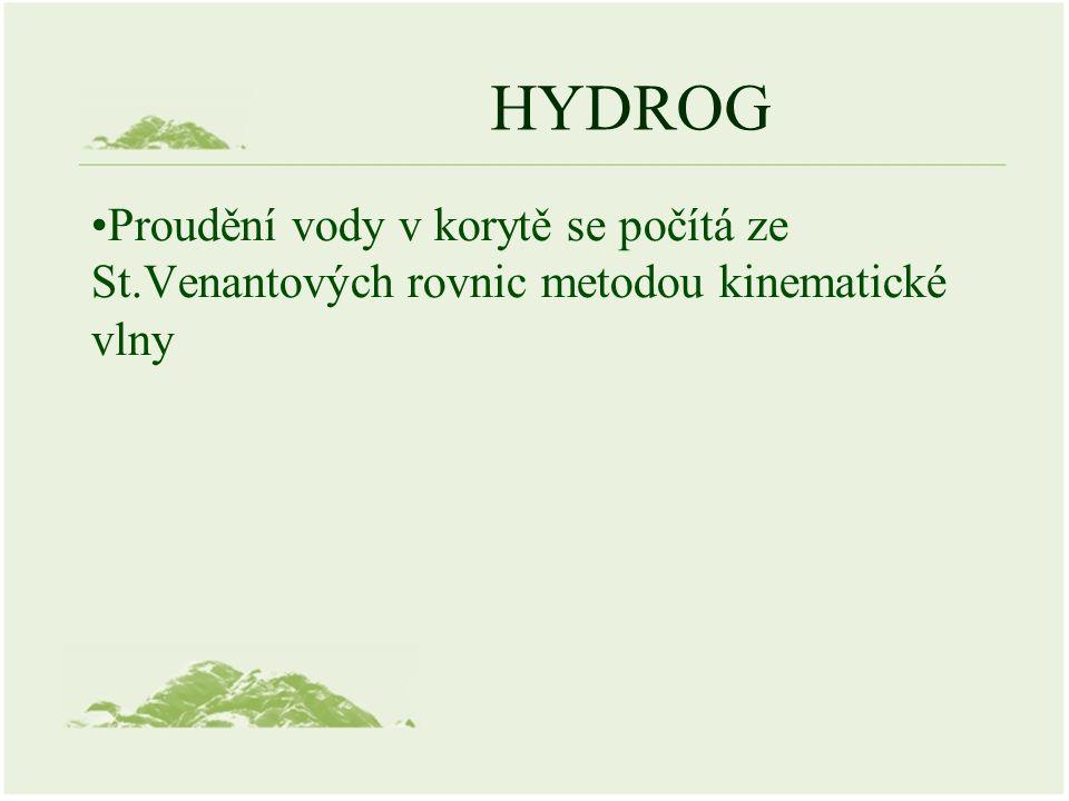 HYDROG Proudění vody v korytě se počítá ze St.Venantových rovnic metodou kinematické vlny