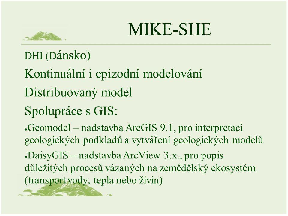 MIKE-SHE DHI (D ánsko) Kontinuální i epizodní modelování Distribuovaný model Spolupráce s GIS: ● Geomodel – nadstavba ArcGIS 9.1, pro interpretaci geo