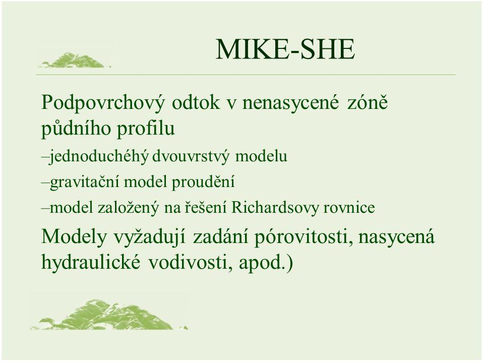 MIKE-SHE Podpovrchový odtok v nenasycené zóně půdního profilu –jednoduchéhý dvouvrstvý modelu –gravitační model proudění –model založený na řešení Ric
