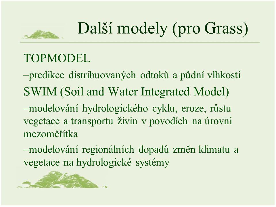 Další modely (pro Grass) TOPMODEL –predikce distribuovaných odtoků a půdní vlhkosti SWIM (Soil and Water Integrated Model) –modelování hydrologického
