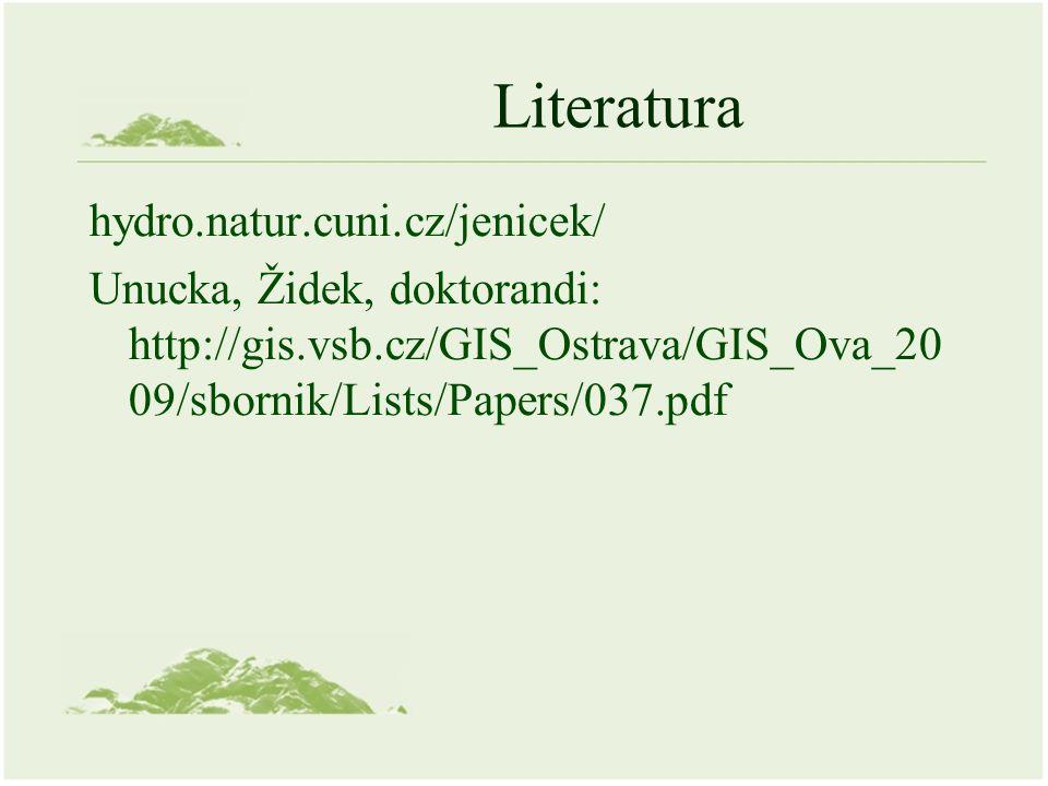 Literatura hydro.natur.cuni.cz/jenicek/ Unucka, Židek, doktorandi: http://gis.vsb.cz/GIS_Ostrava/GIS_Ova_20 09/sbornik/Lists/Papers/037.pdf